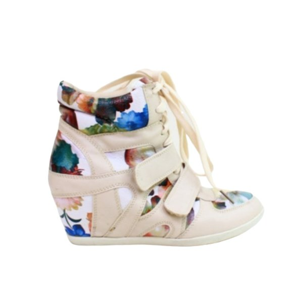 ASOS Shoes | White Floral Lace Up Wedge